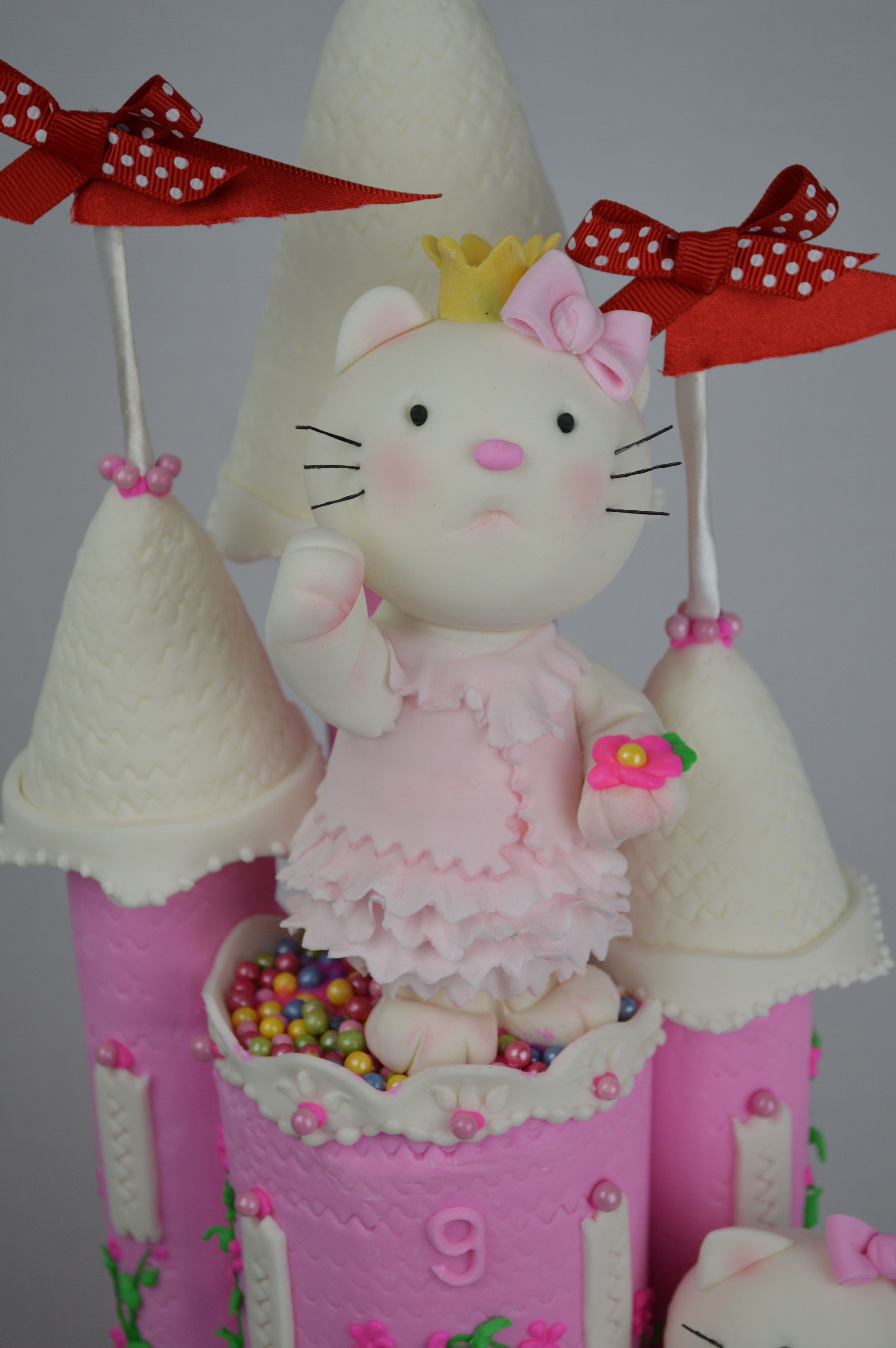 Made For Evies Ninth Birthday On Request A Chocolate Mud Cake Castle Adorned With Hello Kitty Every Little Girls Dream